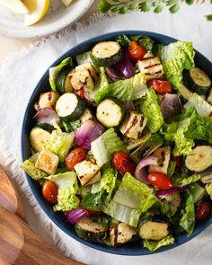 Grilled Halloumi Salad Halloumi Salad, Grilled Halloumi, Cheese Curds, Lemon Vinaigrette, Midweek Meals, Bbq Ideas, Salad Ideas, Salad Sandwich, Serious Eats