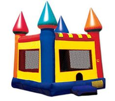 CLASSIC CASTLE 1 Party Magic invites you to bounce in this classic-style inflatable moon bounce.  Features include: • 13′ l x 13′ w x 12′ h • Top spires reach to 15′ high (low ceilings beware!) • Bright, festive colors • Great for indoor or outdoor use • Covered roof • Suitable for younger kids, ages 3 and up • Requires 1 fan (included in rental)