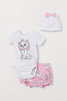 Brand New Baby Girl/'s Disney Aristocats Marie 3 Piece Outfit W//Bow Headband