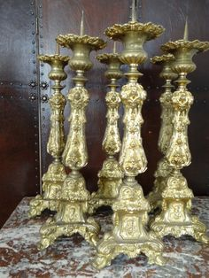 European Antiques : Gilded pressed metal Neo - Gothic candlesticks c.1880