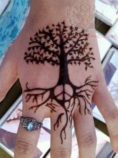 Peace Sign And Tree Tattoo On Hand
