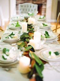 greenery leaf table runner // holiday tablescapes White Goat in the Heights