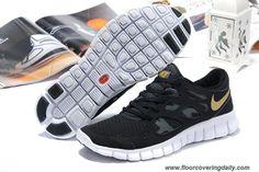 Discounts Black Gold Mens 443815-001 Nike Free Run 2