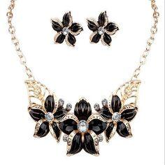 2016 New Jewelry Set Necklace Earrings Woman Lady Party Oil Drop Flower Joker Romantic Beautiful Amazing
