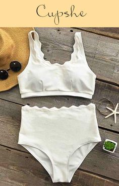 Live life on the beach~ Enjoy more happiness from Cupshe Seaside Tank High-waisted Bikini Set. Feel its support and fitness, so soft and comfy. You derserve it.