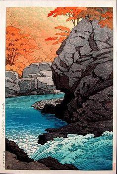 Kawase Hasui: Tengu Rock, Shiobara - 1950