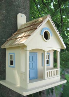 Encourage nesting in your yard with this charming bird abode! Hand crafted bird house adds a special touch to any setting with soft contrasting trim and fine detail. Cavity nesting birds such as wrens Gazebo, Wooden Bird Houses, Cedar Shingles, Bird House Kits, Construction Design, Paper Houses, Kit Homes, Best Interior, Beautiful Homes