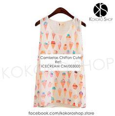 CAMISETAS CUTE (Modelo IceCream) - REF: CM/003000 Síguenos en Instagram: @KokoroShopStore Para pedidos o consultas, contactar mediante Facebook:  https://www.facebook.com/kokoroshop.store/ Muchas Gracias  #moda #modamujer #camisetas #woman #girls #verano #summer #summertime #cute #lovely #shopping #tiendas #compras #chicas #outfit