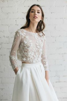 Etsy Wedding Top, Bridal Lace Top, Bridal Separates , Long Sleeves Lace Top, Bridal Crop Top, Ivory Lace Bridal Top, 3D Wedding Top - CAMILA