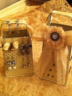 I painted and shabbied these two old graters and am going to use them for my favorite earrings!