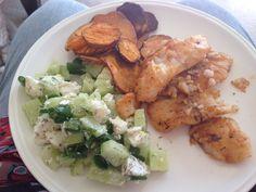 Cajun blackened fish - Jamie's America - and cucumber & feta salad - Tossed - with Kumara chips. Gluten free.