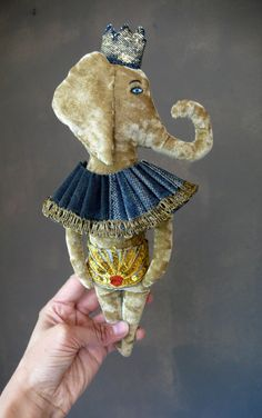 RESERVED Little Balthazar the elephant velvet art by pantovola