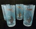 Libbey Marine Life Teal Gold Fish Atomic Mid Century Modern Tumbler Glasses Vtg