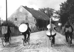 folk musicians touring the european countryside by bicycle. by roger-viollet