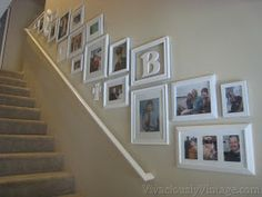 stairway gallery template - similar frame sizes to what I have.like the layout Stairway Gallery Wall, Stairwell Wall, Staircase Walls, Frame Gallery, Gallery Walls, Stair Decor, Diy Wall Decor, Home Decor, Frame Wall Collage