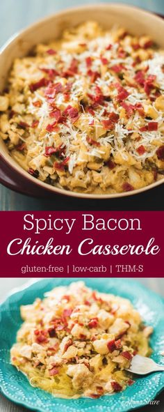 Spicy Bacon Chicken Casserole - Gluten-free, Low-carb, THM-S