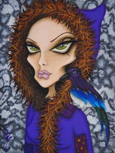 Familiar © 2013 Natalie VonRaven  Acrylic on masonite panel 9x12  Inspired by the magical magpie ♥  For more details or purchase info, please visit the listing: https://www.etsy.com/listing/128777341/original-gothic-fantasy-big-eye-woman?ref=shop_home_active