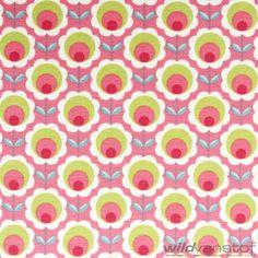 Retro bloem roze - Wild van Stof | Stoffenwebshop | Grootste aanbod in leuke stoffen online!