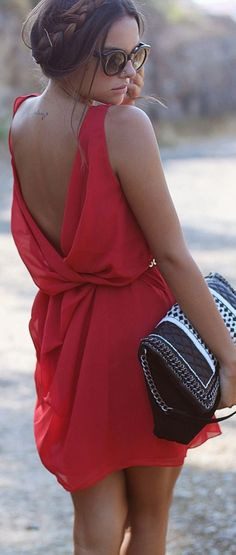 Red dress casual updo
