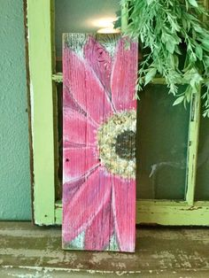 Excited to share the latest addition to my shop: Pink Gerber Daisy painted on old barn board Painted Boards, Painted Signs, Painted Wood, Painted Fences, Painted Pallets, Painted Driftwood, Wood Fences, Driftwood Crafts, Painted Pebbles