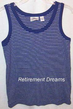 0e5116f24706a4 SPA by CHICOS Tank Top Shirt 1 S Blue White Stripes Stretchy  Chicos  Casual