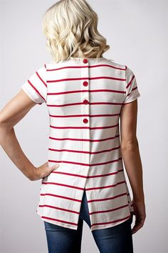 Striped Button Back Top | Jane