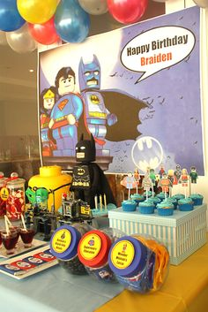 Lego SuperHero Party Birthday Party Ideas - Lego Batman - Ideas of Lego Batman - Lego SuperHero Party Birthday Party Ideas Fiesta Batman Lego, Lego Batman Birthday, Lego Batman Party, Superhero Birthday Party, 4th Birthday Parties, Birthday Fun, Lego Superhero Cake, Birthday Ideas, Festa Party