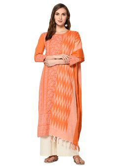 Buy Orange Cotton Palazzo Suit 207956 online at lowest price from huge collection of salwar kameez at Indianclothstore.com.