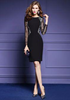 2017 весной новый с длинными рукавами кружевного платья женского темперамента ол Тонкий пакетом бедро юбка пассив по буквам - глобальная станция Taobao