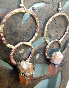 Circle Earrings Raw Crystal Earrings Hammered by DeerGirlDesigns