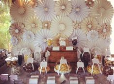 Cream, Gold and Brown Chocolate buffet Wedding Party Ideas   Photo 1 of 43