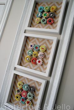 Make Spring Specimen Art - a paper crafting tutorial. Decorate your home with pretty paper flowers and vintage buttons.