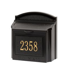 "Customized Cast Aluminum Wall Mailbox with Custom Address Numbers Plaque 15""H x 14.5""W x 8""D"
