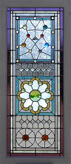 Victorian combination glass (Combination Glass refers to windows that combine elements of stained glass, beveled glass, and jewels) - Circa: 1875