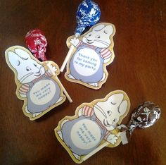 """Max and Ruby Birthday Party """"Thank You"""" Pops"""