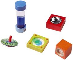 Mini Optics Workshop by Haba. $34.19. Ages 3-8 Years. Includes 5 wooden pieces: mirror block, faceted block, color spinning top, color pipe and color blende. Made in Germany. 5 wooden pieces: mirror block, faceted block, color spinning top, color pipe and color blender.  Ages 3-8 Years.  Made in Germany.