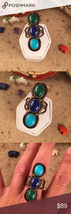Vintage Navajo Multi Stone ring size 8.5 This is a wonderful vintage piece made by the famous artist Larry Ruiz.  It is made of Sterling Silver, Sleeping Beauty Turquoise, Lapis & Malachite. This ring is a size 8.5. This piece is 1 1/2 inches long and 1/2 of an inch wide. The ring is signed  by the artist and stamped sterling.   Please contact me with any questions and thank you for looking. Jewelry Rings