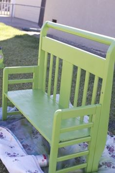 how to make a toddler bed bench. Use that crib or toddler bed that you no longer need to make a great little bench for the kids.