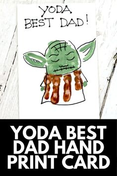 If Dad is a die-hard StarWars fan, then he's going to LOVE this super cute Yoda Father's Day card... made out of your little one's handprint! Get the full tutorial at MomDot.com! Crafts For Kids To Make, Fun Crafts, Diy And Crafts, Fathers Day Crafts, Gifts For Father, Footprint Art, Best Dad, How To Make Something, Homemade Gifts