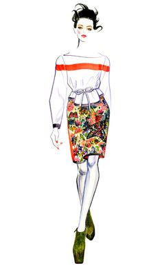 Sunny Gu watercolour fashion illustration - Preen Fall 2012