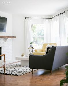 I finally finished our living room makeover! I asked Sarah, from Smitten Studio, to help me pull together a modern, rustic living room. I needed someone to help bring my vision to life! Living Room Remodel, Living Room Decor, Apartment Living, Apartment Ideas, Living Rooms, Living Spaces, Small House Interior Design, Interior Designing, Decoration