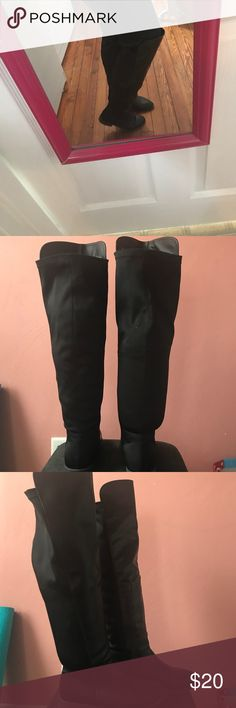 Black knee length wide calf Riding boots Super comfy extra wide calf black riding boots. Only worn twice. Charlotte Russe Shoes Over the Knee Boots