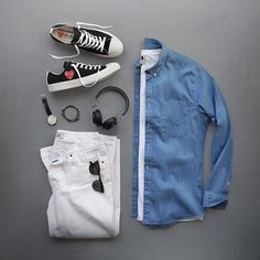 Weekend mode. Shoes: @commedesgarcons PLAY @converse Shirt: @nonationality07 Falk Slim Fit Chinos: @grayers T-Shirt: @nonationality07 Sunglasses: @persol Watch: @uniformwares C40 Cordovan Strap Bracelet: @miansai Headphones: @jabra