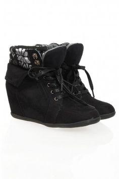 Black Zip Cuff Hidden Wedge Boots