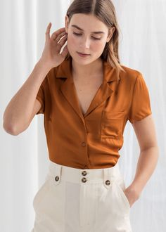 Relaxed Fit Satin Shirt - Rust - Shirts - & Other Stories Trouser Outfits, Casual Outfits, Look Fashion, Fashion Outfits, Womens Fashion, Curvy Fashion, Fall Fashion, Fashion Tips, Fashion Trends
