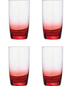 Living Pack of 4 Faded Hi Ball Glasses - Red.