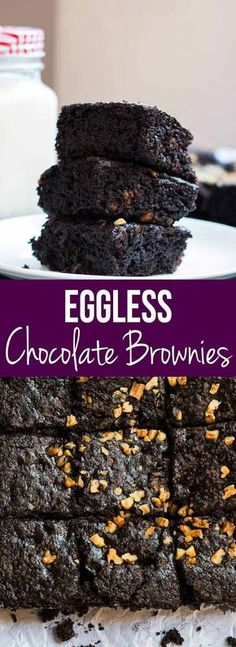 Easy homemade eggless chocolate brownie recipe that even a novice can make. Perfect dessert for the vegetarian brownie lover. More Eggless Chocolates, Chocolates Brownies, Chocolate Brownies, Chocolates Heavens Eggless Desserts, Eggless Recipes, Eggless Baking, Baking Recipes, Dessert Recipes, Baking Desserts, Cake Recipes, Easy Eggless Brownie Recipe, Baking Cakes