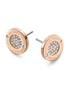 Michael Kors Logo Pave Stud Earrings, Rose Golden - Michael Kors
