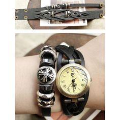 Unisex Punk Style Vintage Braided Leather Wrist Watch Free Shipping