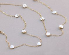 Very Long Pearl Necklace Keshi Pearl Necklace by BethDevineDesigns
